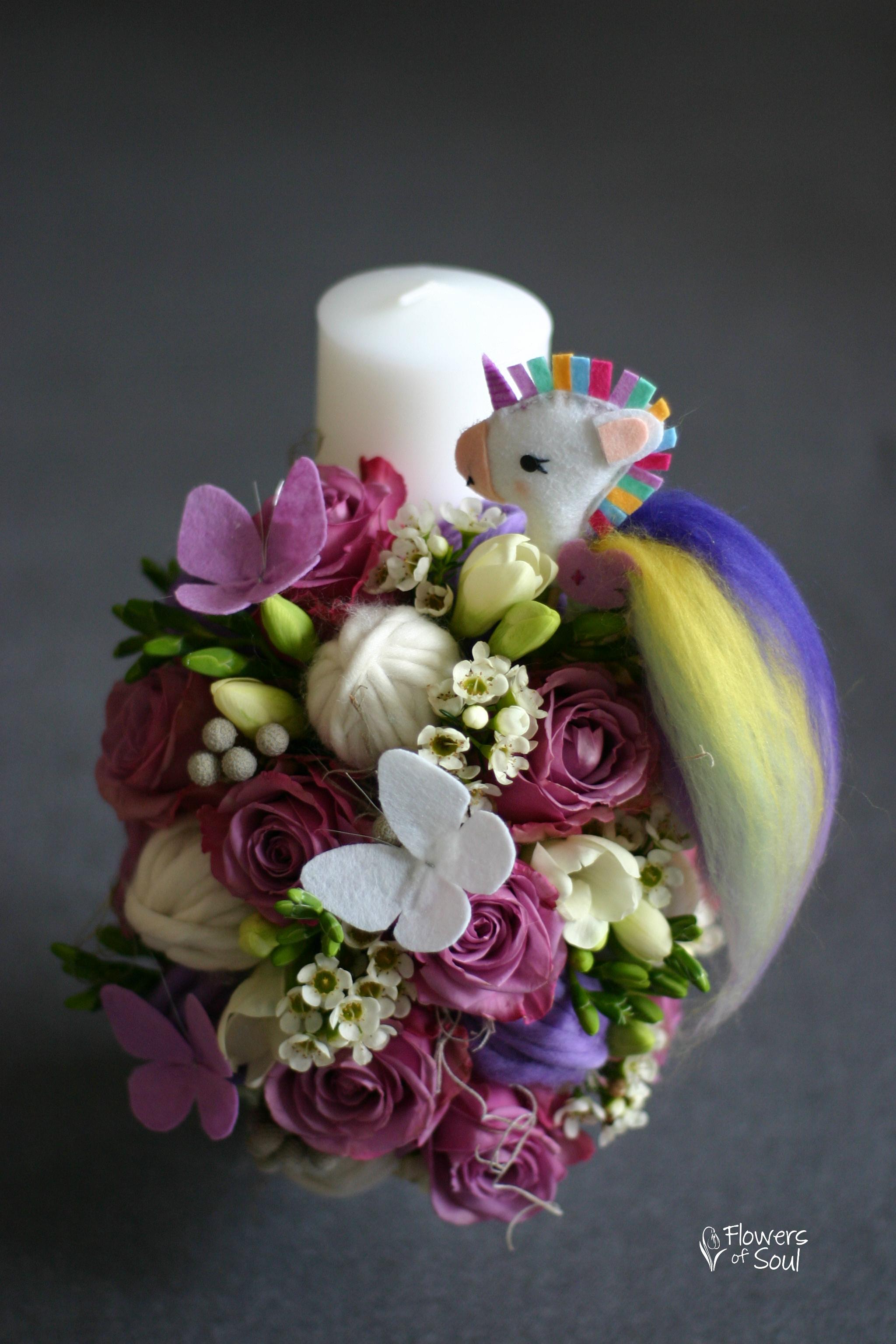 Lumânare De Botez Cu Unicorn Din Fetru Realizat Manual Flowers Of Soul